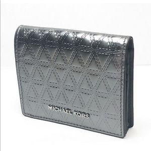 💎MICHAEL KORS💎 Flap CardWallet Metallic Gunmetal